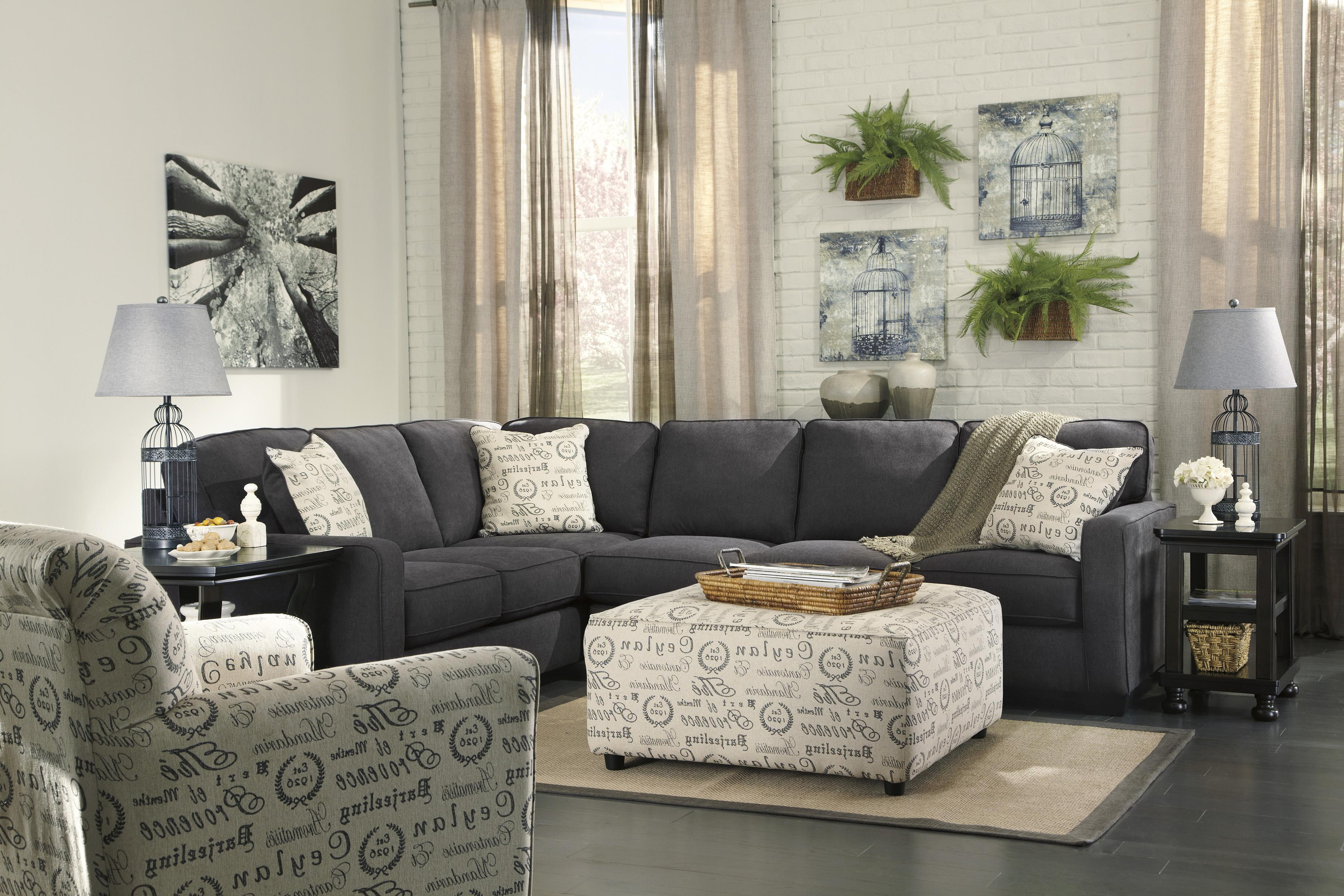 Ashley Signature Design Alenya Charcoal 3 Piece Sectional With Right Loveseat Dunk Bright