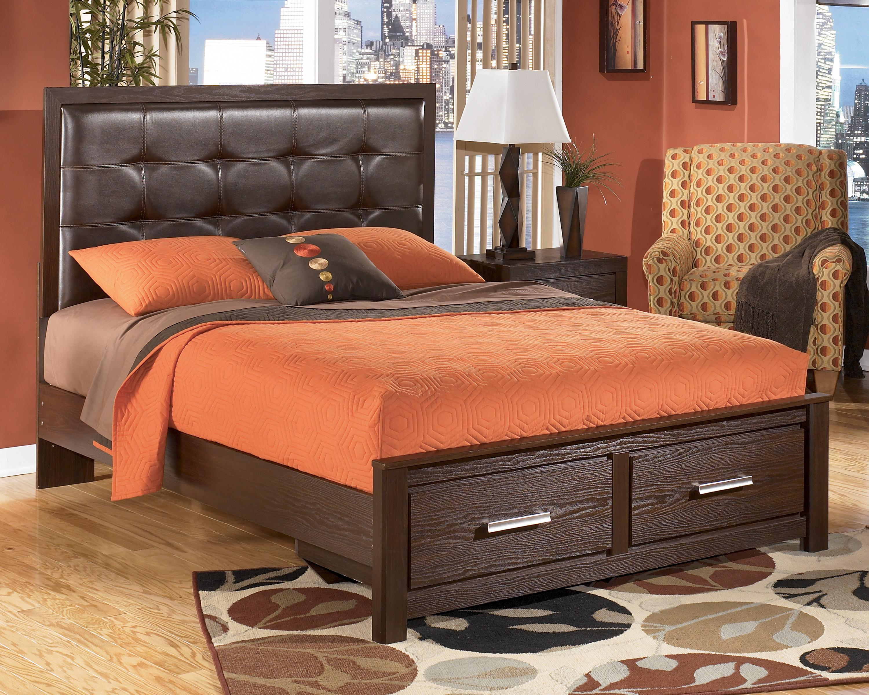 Signature Design by Ashley Aleydis Queen Upholstered Panel Storage Bed - Item Number: B165-57+54S+95+B100-13