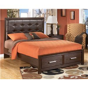 Signature Design by Ashley Aleydis Queen Upholstered Panel Storage Bed