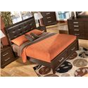 Signature Design by Ashley Aleydis Queen Faux Leather Upholstered Panel Storage Bed