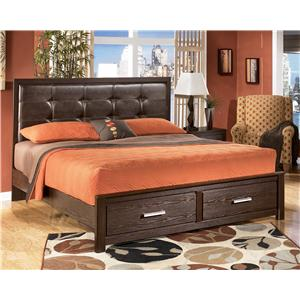 Signature Design by Ashley Aleydis King Upholstered Panel Storage Bed