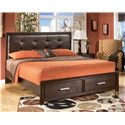 Signature Design by Ashley Aleydis King Upholstered Panel Storage Bed - Item Number: B165-58+56S+95+B100-14