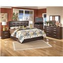 Signature Design by Ashley Furniture Aleydis King Uph Faux Leather Panel Headboard - Shown with Nightstand, Media Chest, Dresser, and Mirror