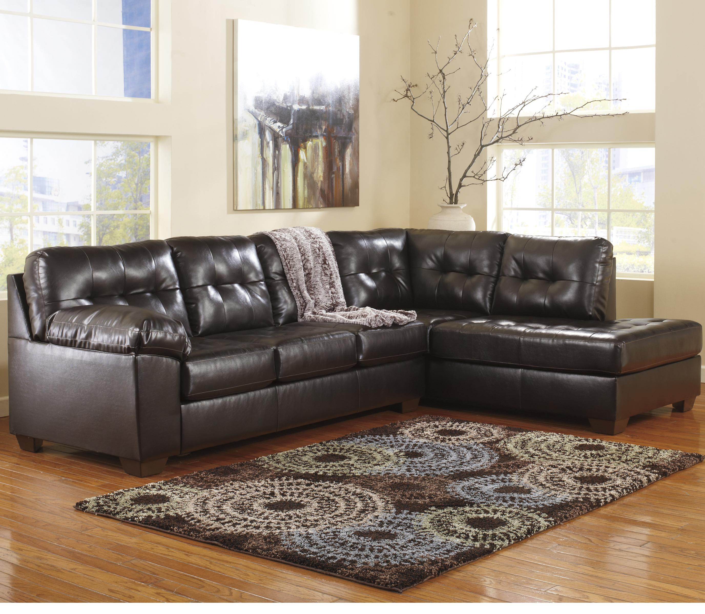 Ashley signature design alliston durablend chocolate for Ashley chaise sectional
