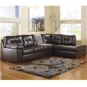 Signature Design by Ashley Alliston DuraBlend® - Chocolate Sectional w/ Right Chaise