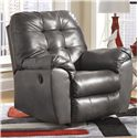 Signature Design by Ashley Furniture Alliston DuraBlend® - Gray Rocker Recliner w/ Pillow Arms