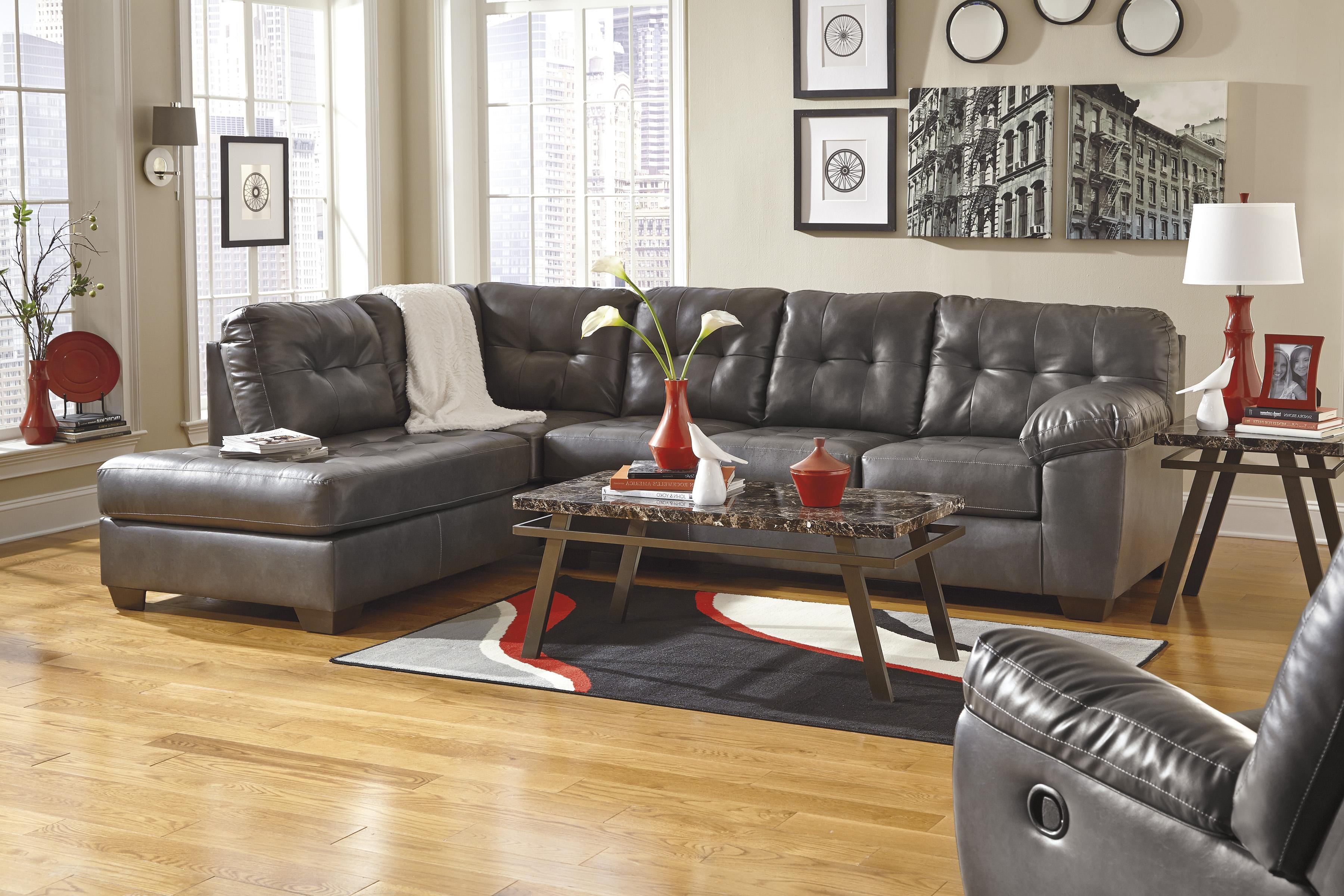 Ashley Signature Design Alliston Durablend Gray Sectional W Left Chaise Tufting Dunk