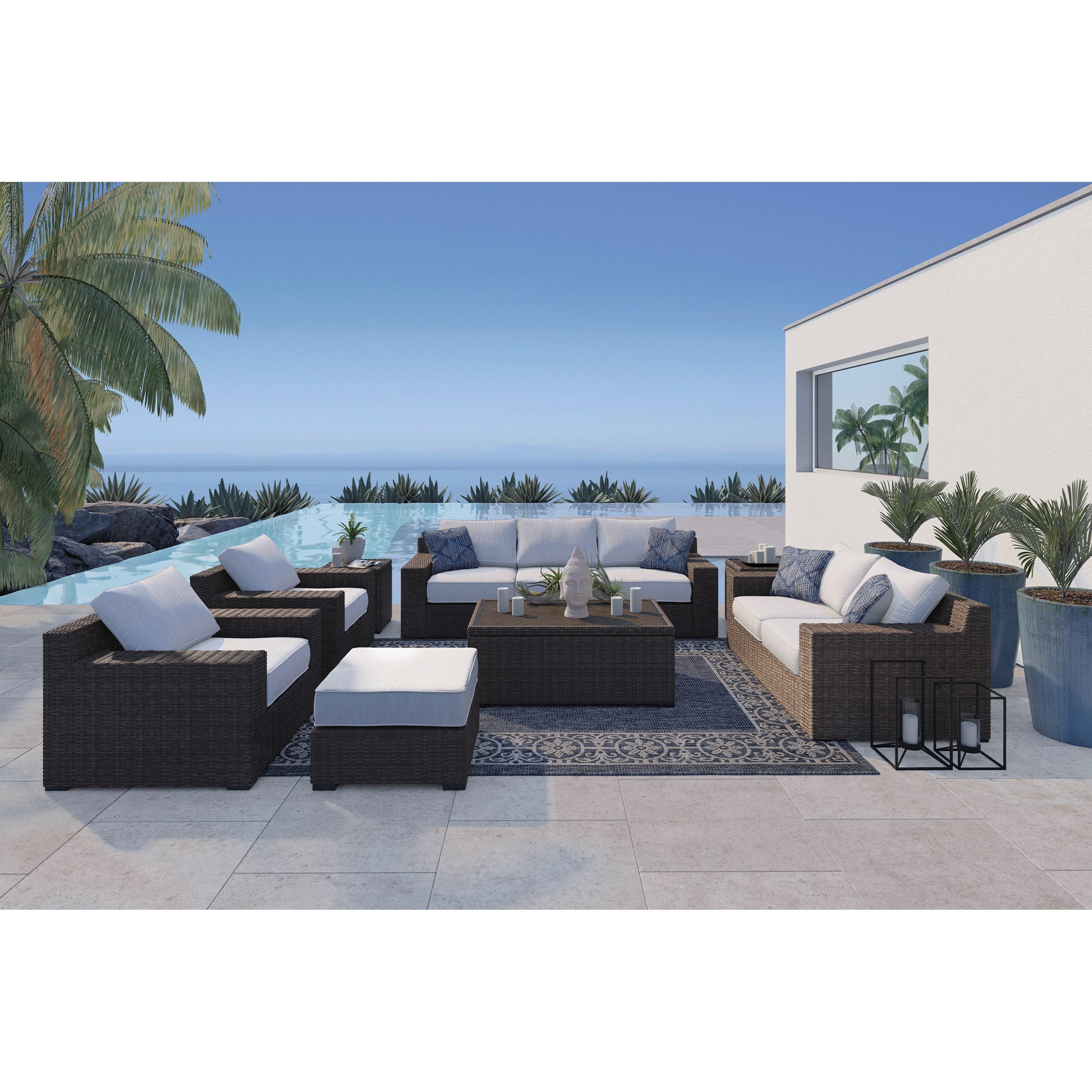 Signature Design by Ashley Alta Grande Outdoor Conversation Set - Item Number: P782-838+835+2x820+814+701+2x702