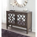 Signature Design by Ashley Alvaton Accent Cabinet with Mirror Doors and Wood Fretwork