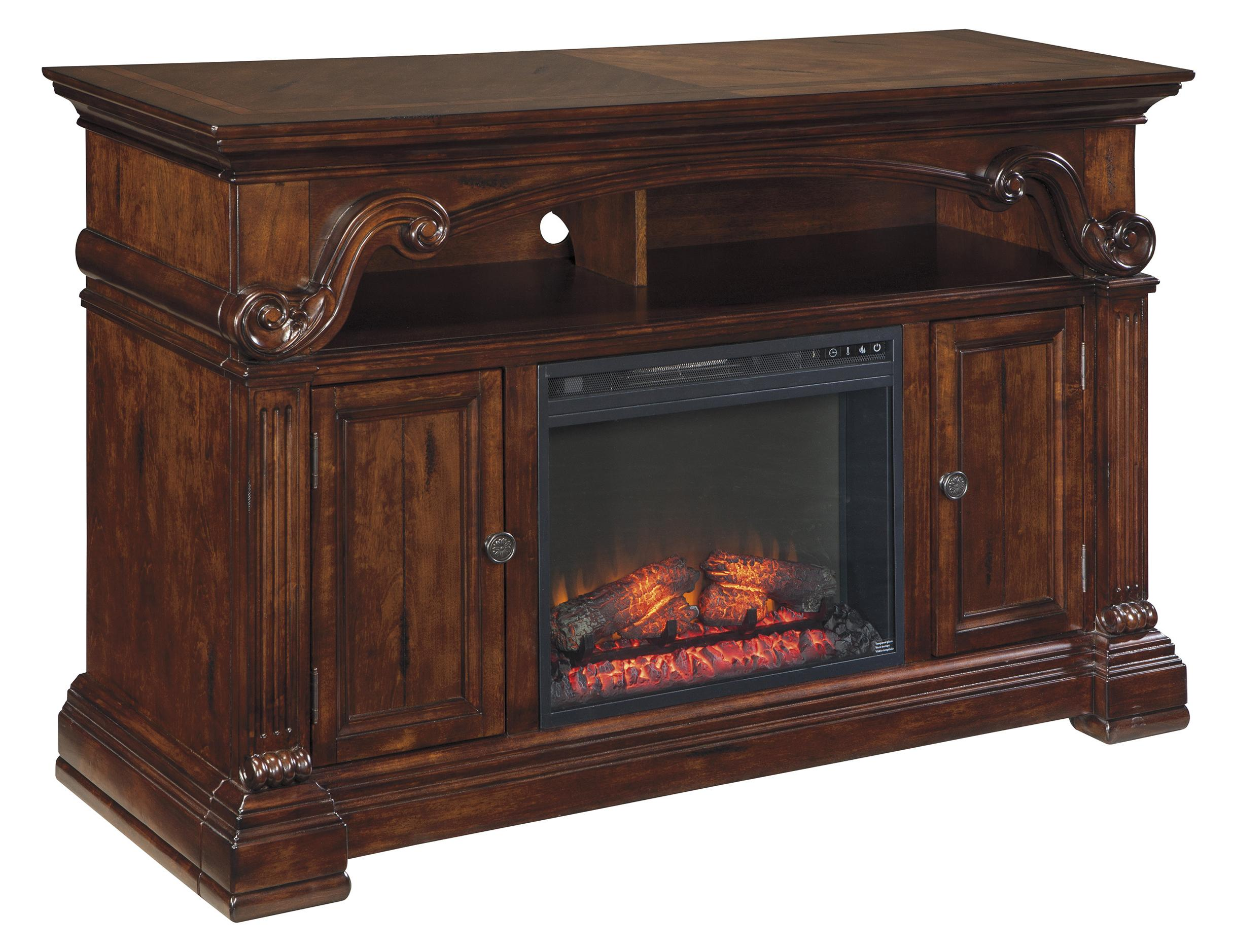 Signature Design by Ashley Alymere Large TV Stand with Fireplace Insert - Item Number: W669-68+W100-01