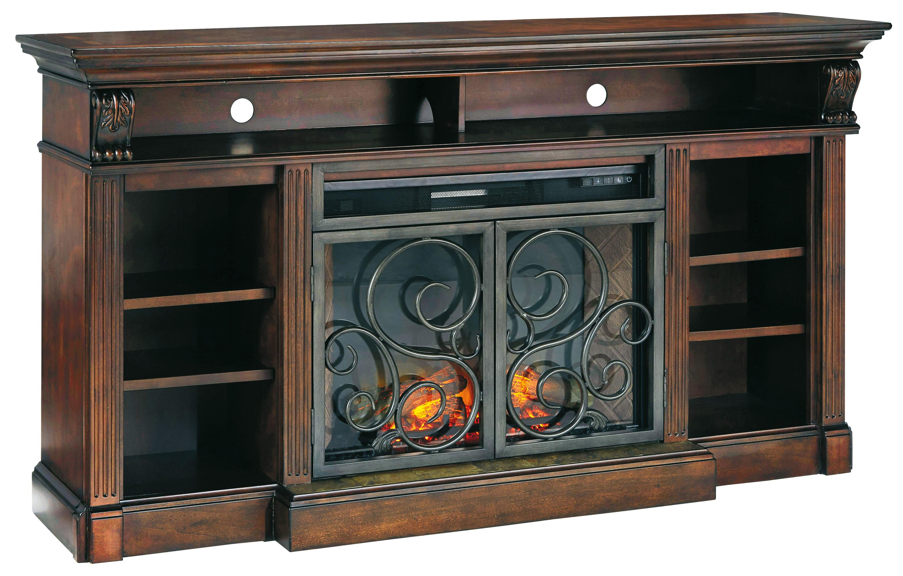Signature Design by Ashley Alymere Extra Large TV Stand w/ Fireplace Insert - Item Number: W669-88+W100-21