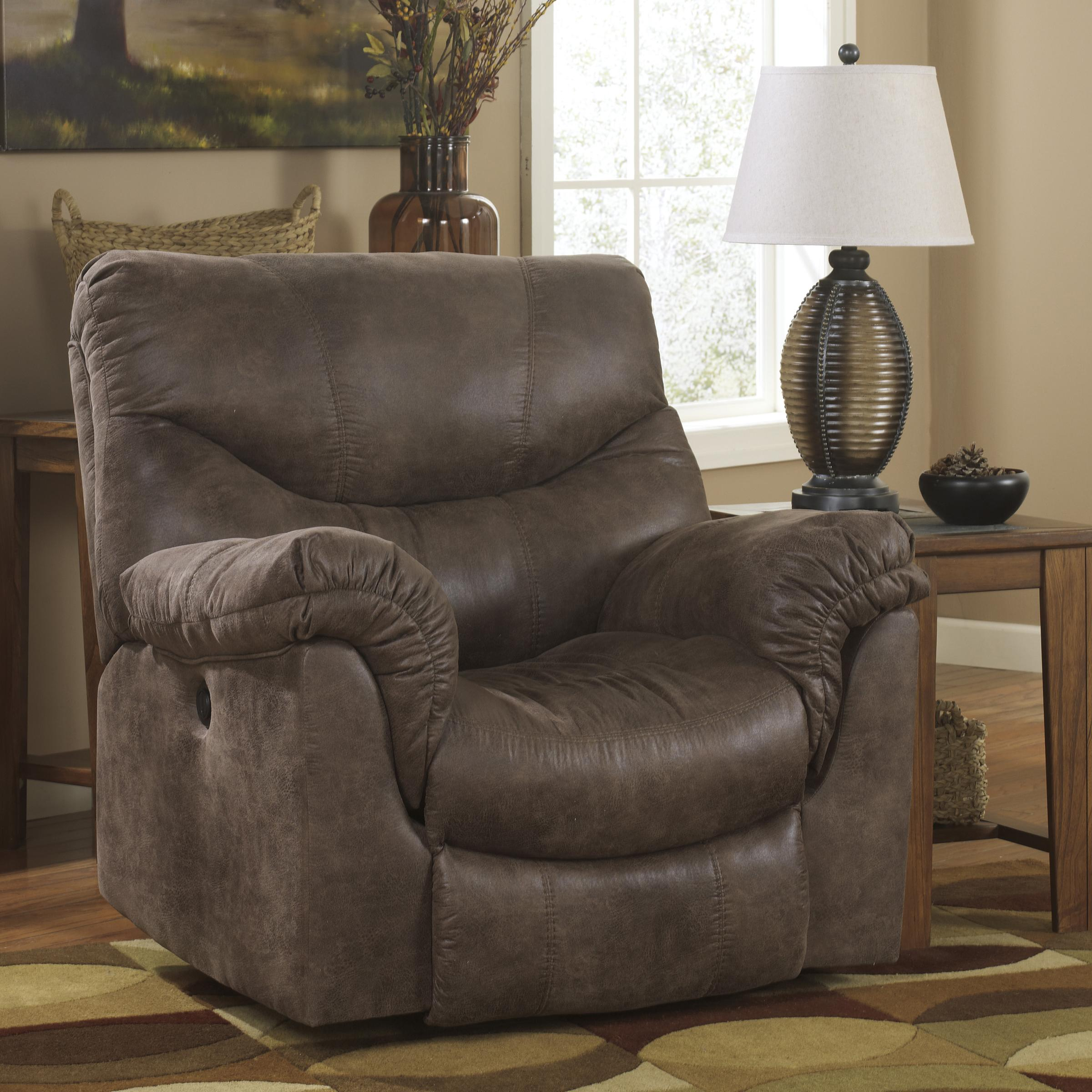 Ashley Furniture Recliners: Signature Design By Ashley Alzena - Gunsmoke Rocker Recliner With Casual Style