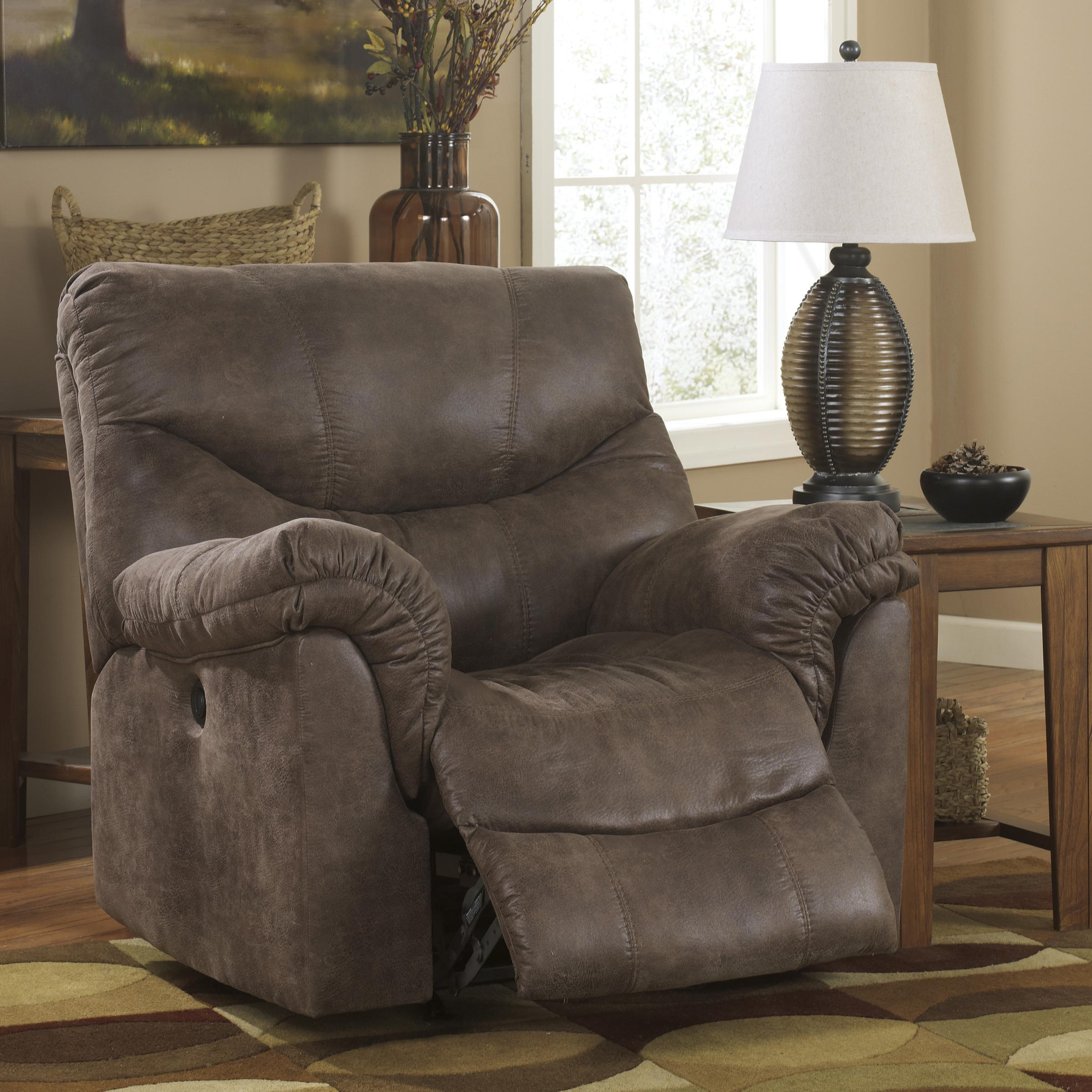Ashley signature design alzena gunsmoke 7140025 rocker recliner with casual style dunk - Stylish rocker recliner ...