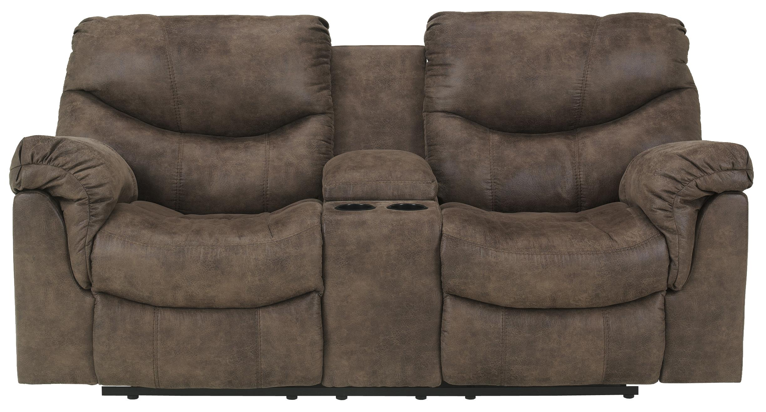 Alzena - Gunsmoke DBL Rec Loveseat w/Console by Signature Design by Ashley at Home Furnishings Direct