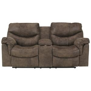 Signature Design by Ashley Alzena - Gunsmoke DBL Rec Loveseat w/Console
