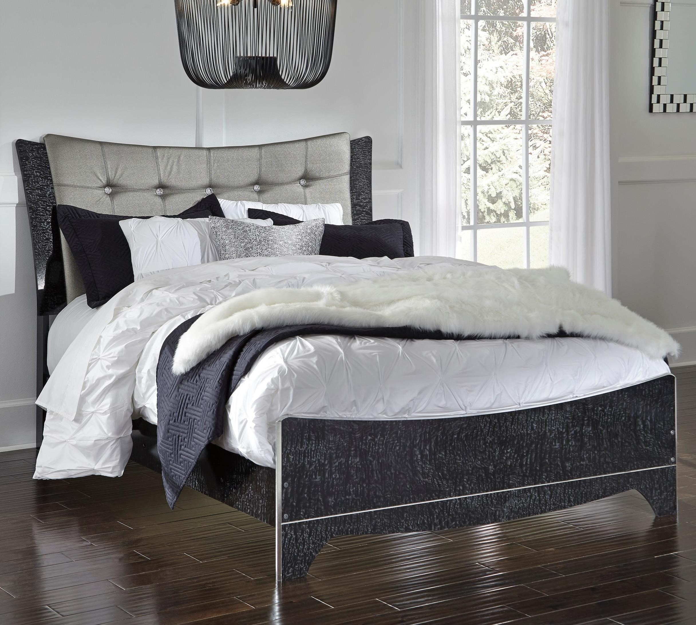 Signature Design by Ashley Amrothi Queen Upholstered Panel Bed - Item Number: B257-57+54+96