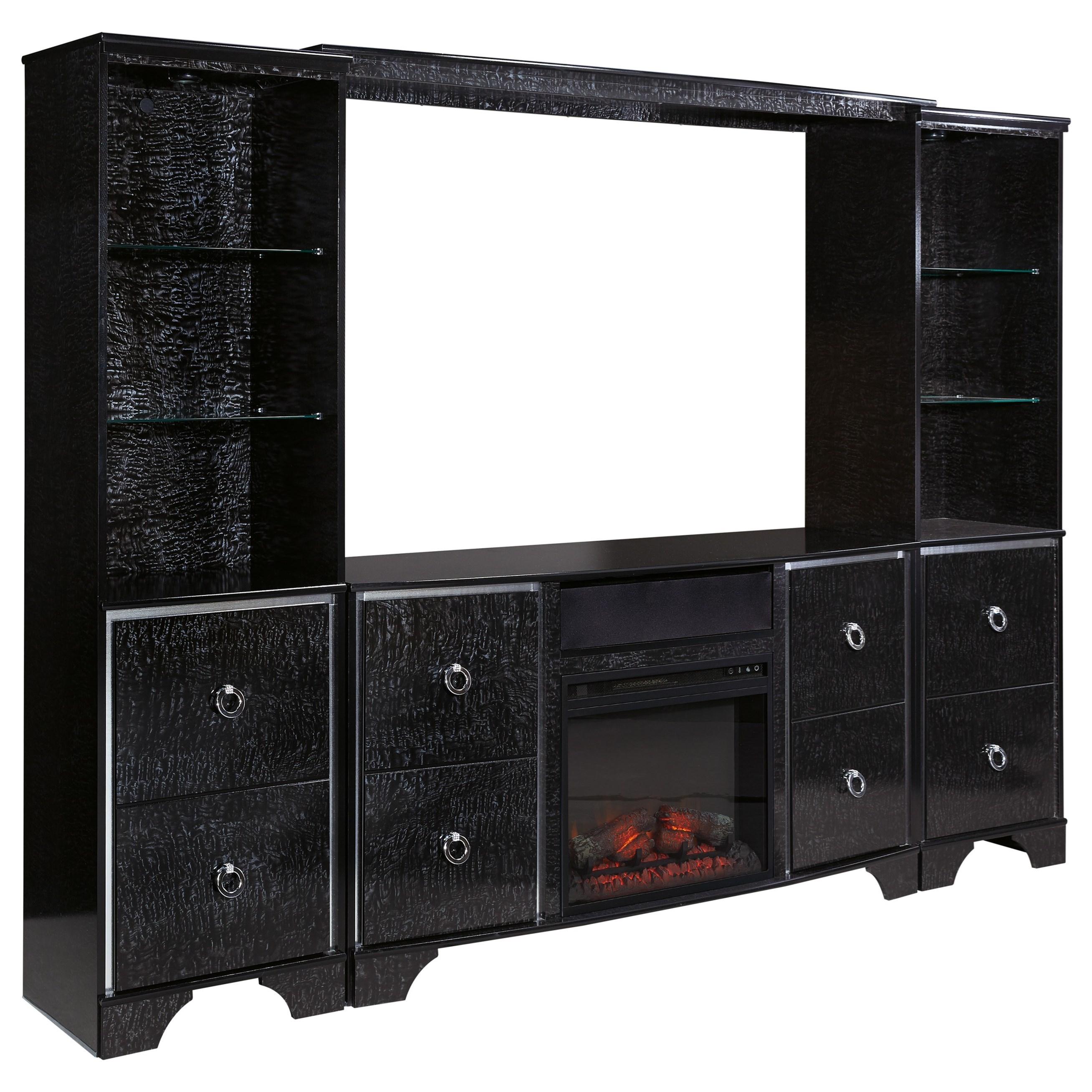 Ashley Signature Design Amrothi Glam Entertainment Center With Fireplace Insert Dunk Bright