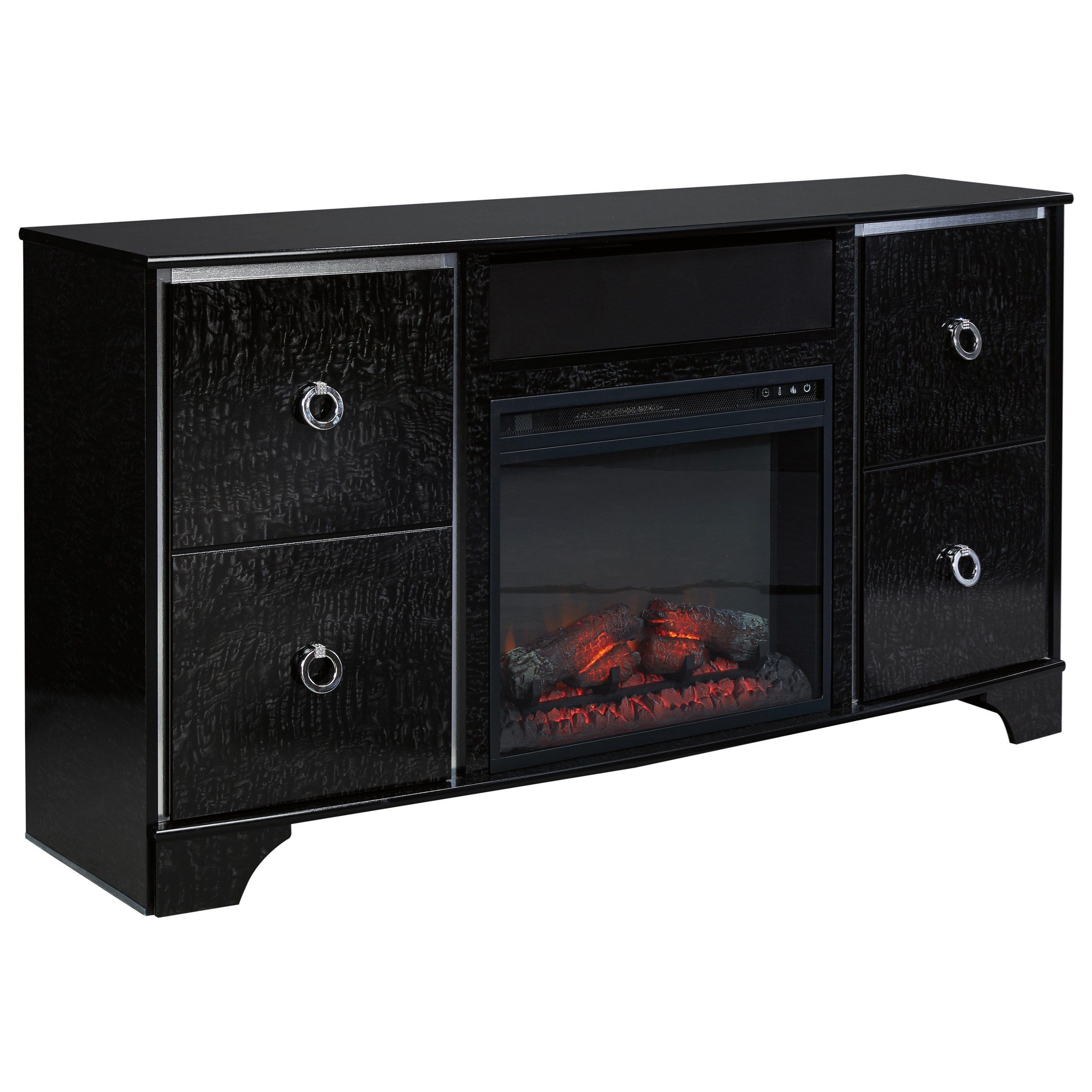 Signature Design by Ashley Amrothi TV Stand with Fireplace Insert - Item Number: W257-68+W100-01