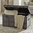 Signature Design by Ashley Amsel Industrial Style Storage Trunk in Gray Cotton Canvas