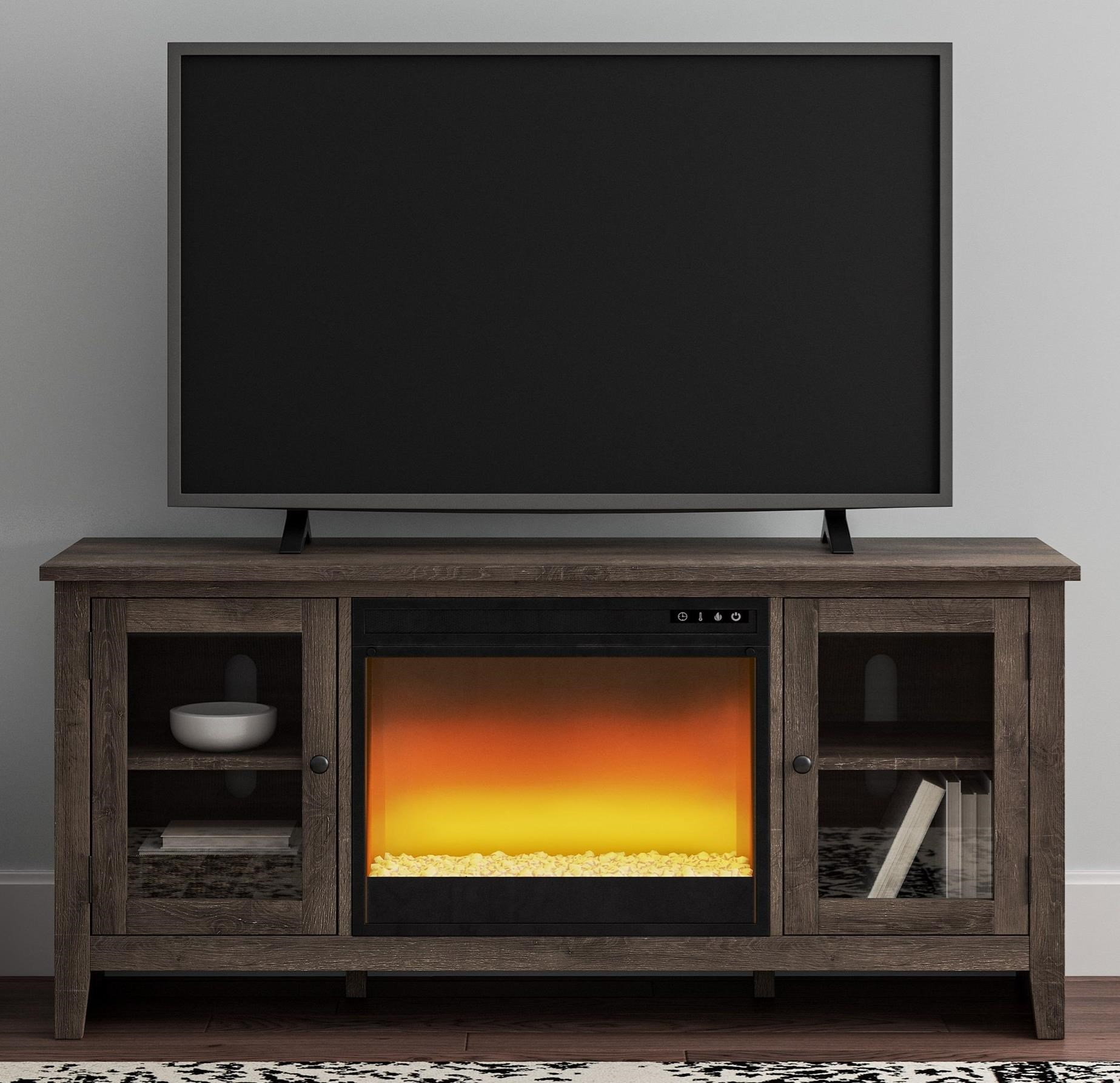 Arlenbry Large TV Stand w/ Fireplace Insert by Signature Design by Ashley at Household Furniture