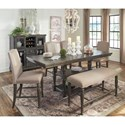 Signature Design by Ashley Audberry Transitional Upholstered Dining Bench with Nailhead Trim