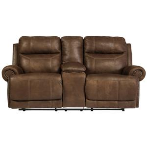 Signature Design by Ashley Furniture Austere - Brown Double Reclining Loveseat w/ Console