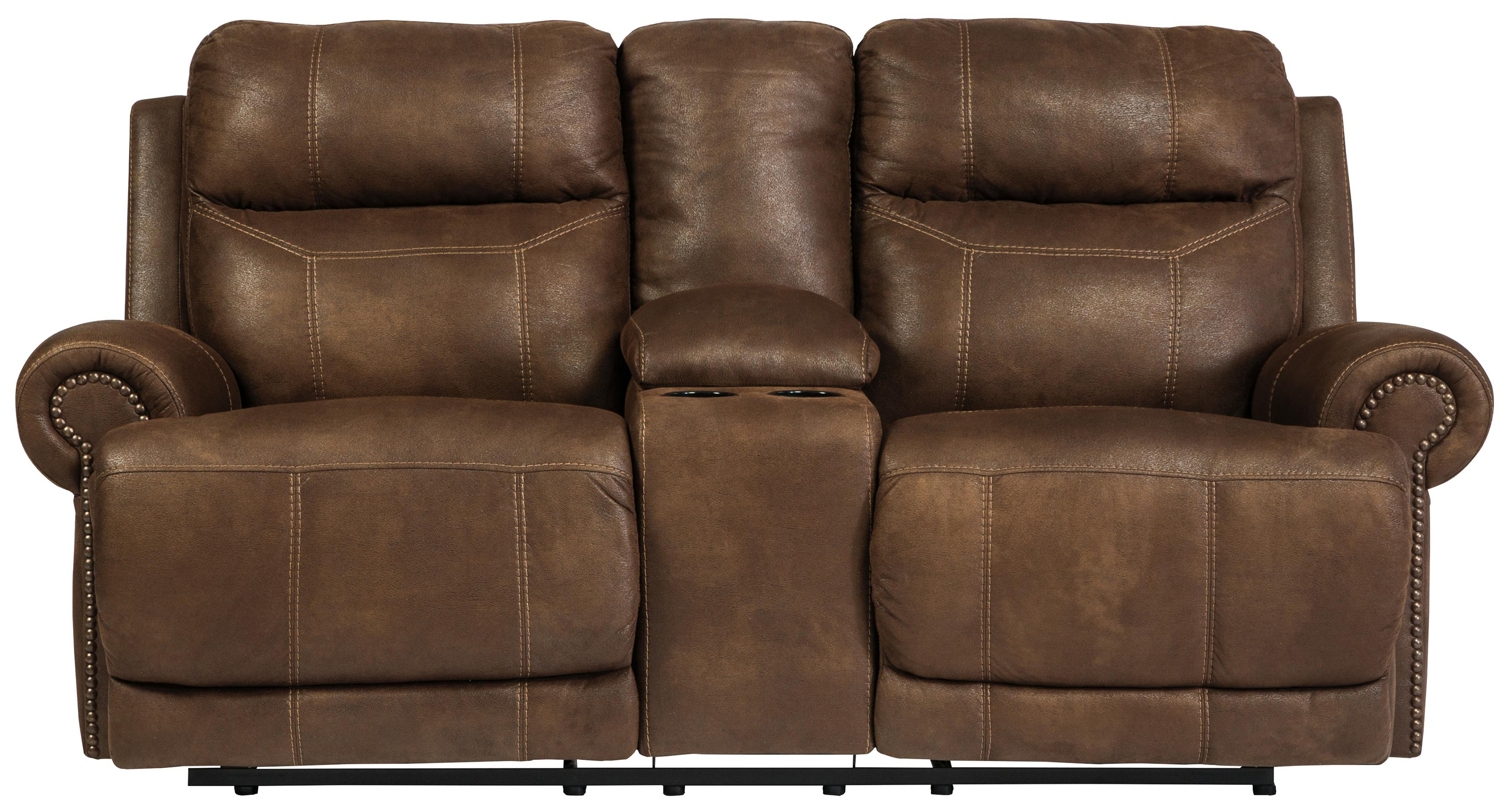 Signature Design by Ashley Austere - Brown Double Reclining Loveseat w/ Console & Power - Item Number: 3840096