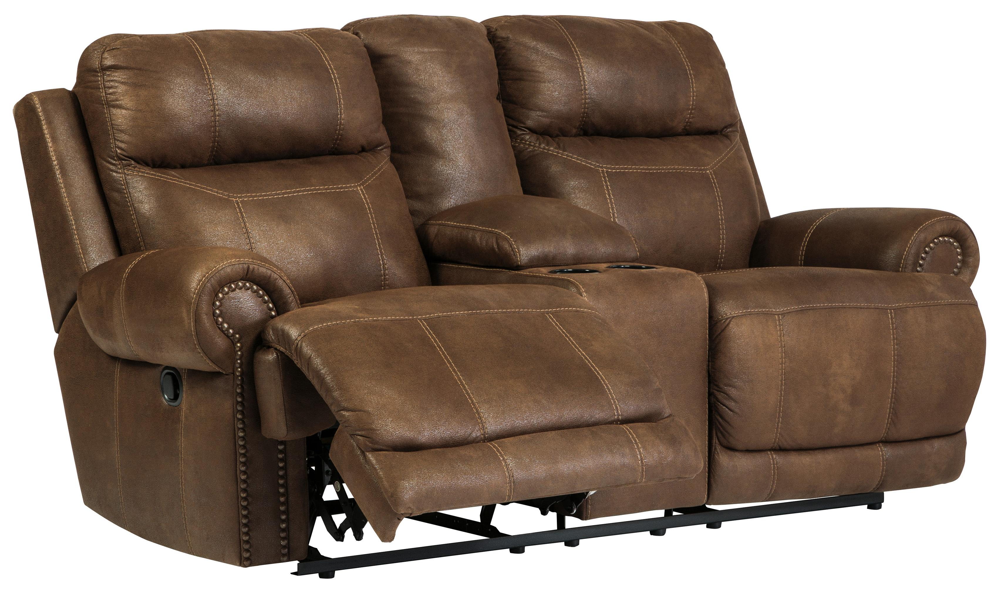 Romilly Brown Double Reclining Loveseat W Console