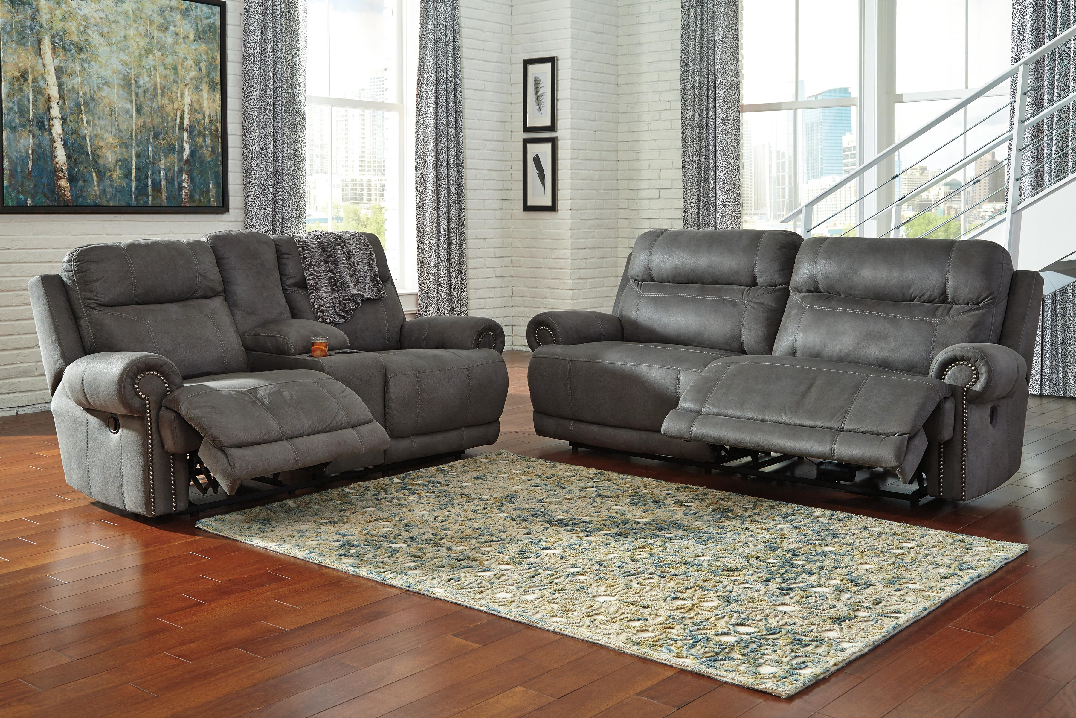 Signature Design by Ashley Austere - Gray Reclining Living Room Group - Item Number: 38401 Living Room Group 1