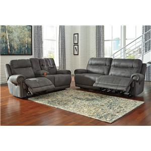 Signature Design by Ashley Furniture Austere - Gray Reclining Living Room Group
