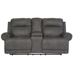 Signature Design by Ashley Austere - Gray Double Reclining Loveseat w/ Console
