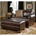 Signature Design by Ashley Axiom - Walnut Traditional Ottoman with Bun Wood Feet - Shown with Chair-and-a-Half