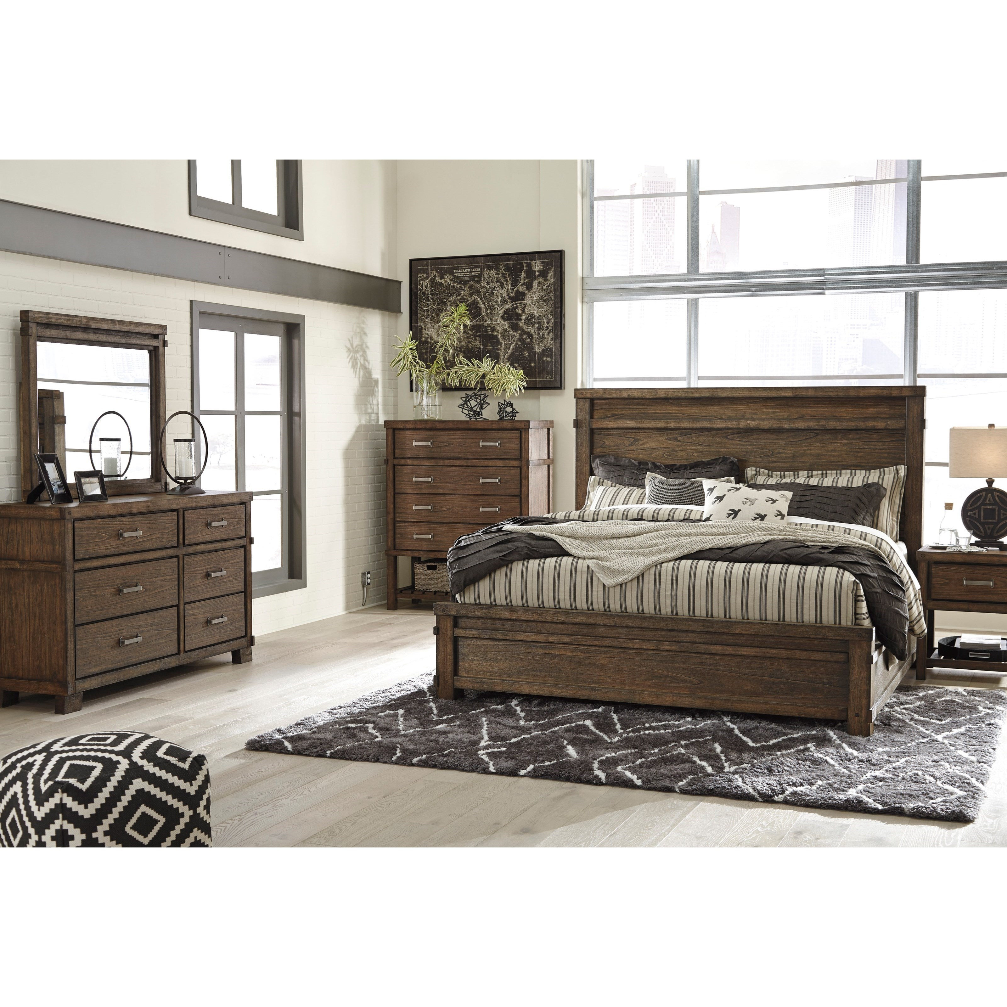 Signature Design By Ashley Leystone Comtemporary Dresser With Beveled Mirror Household