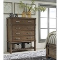 Signature Design by Ashley Leystone Contemporary Chest of Drawers with Bottom Slat Shelf
