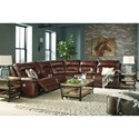 Signature Design by Ashley Bancker Casual Power Reclining Sectional with Power Headrest and Storage Console