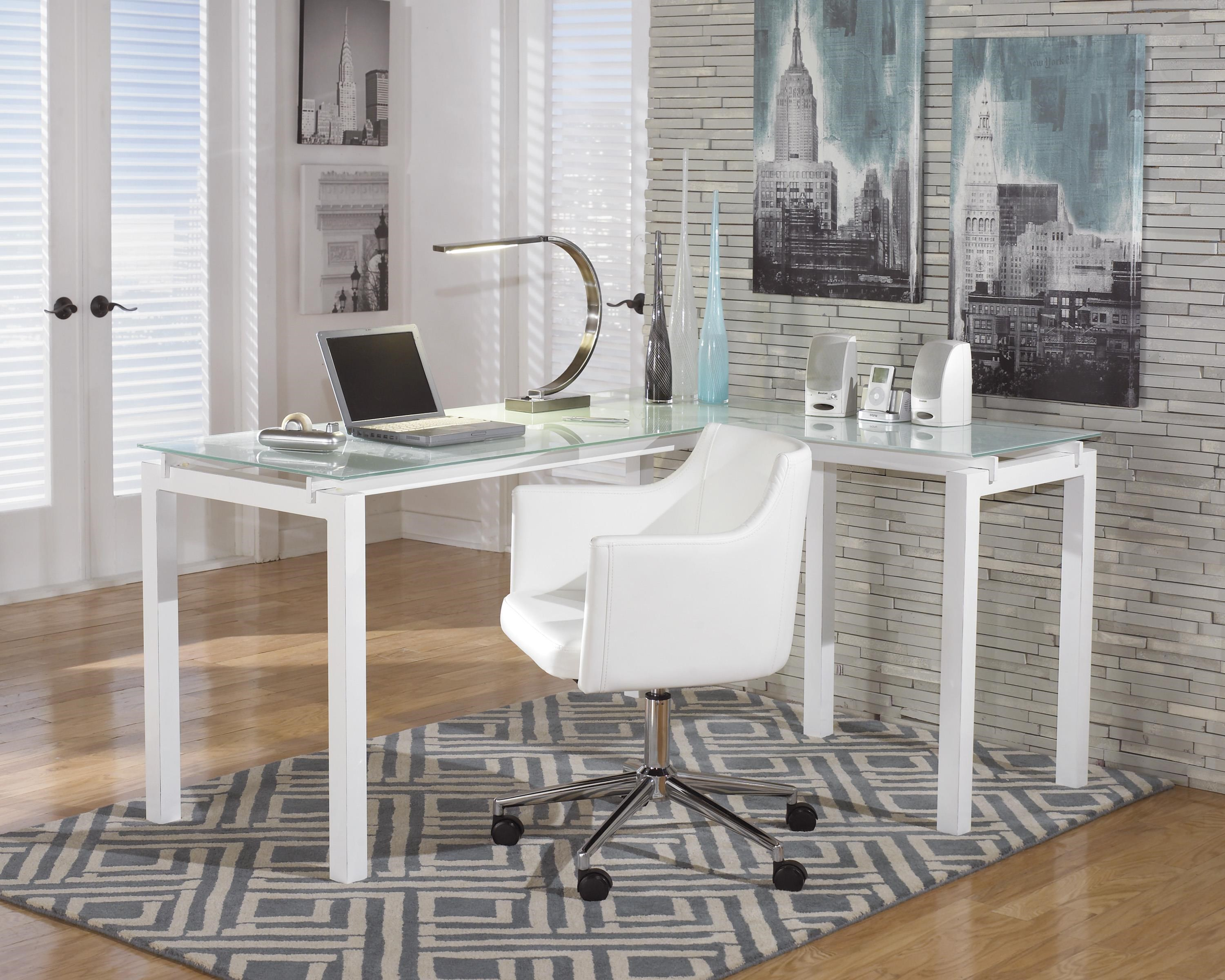 L-Desk and Office Chair Set