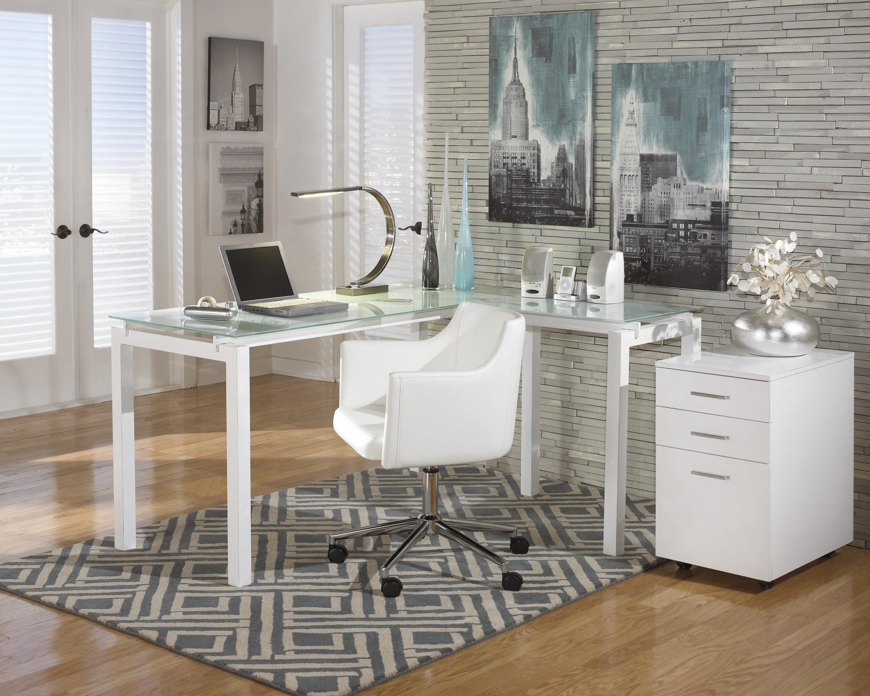 L-Desk, Office Chair and File Cabinet Set