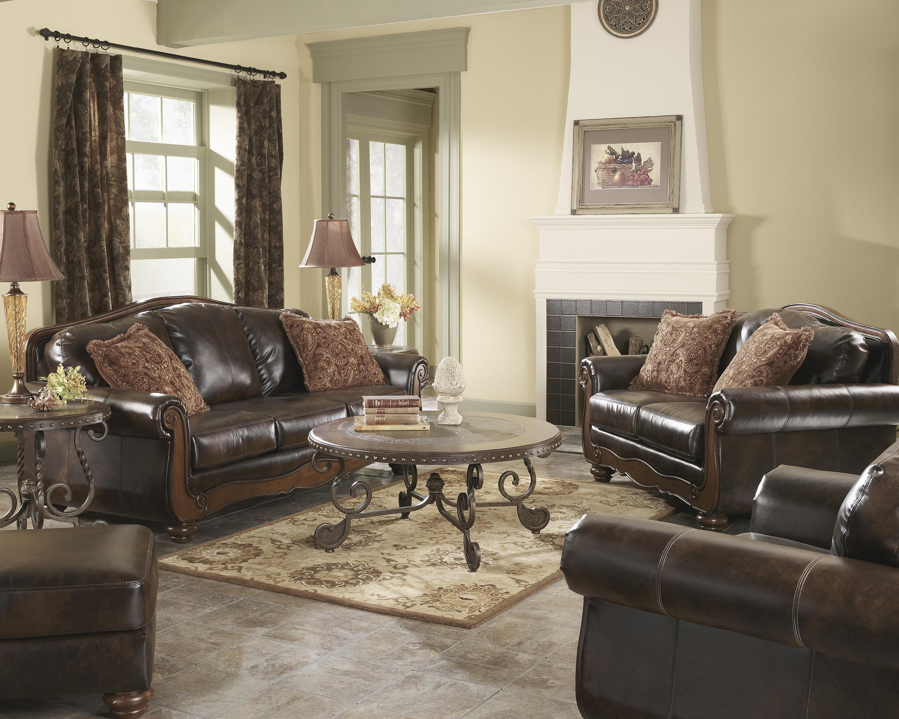 Signature Design by Ashley Barcelona - Antique Stationary Living Room Group - Item Number: 55300 Living Room Group 2