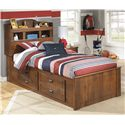 Signature Design by Ashley Barchan Twin Bookcase Bed with Underbed Storage - Item Number: B228-63+52+2x50+B100-11