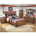 Signature Design by Ashley Barchan Full Bookcase Bed with 4 Shelves