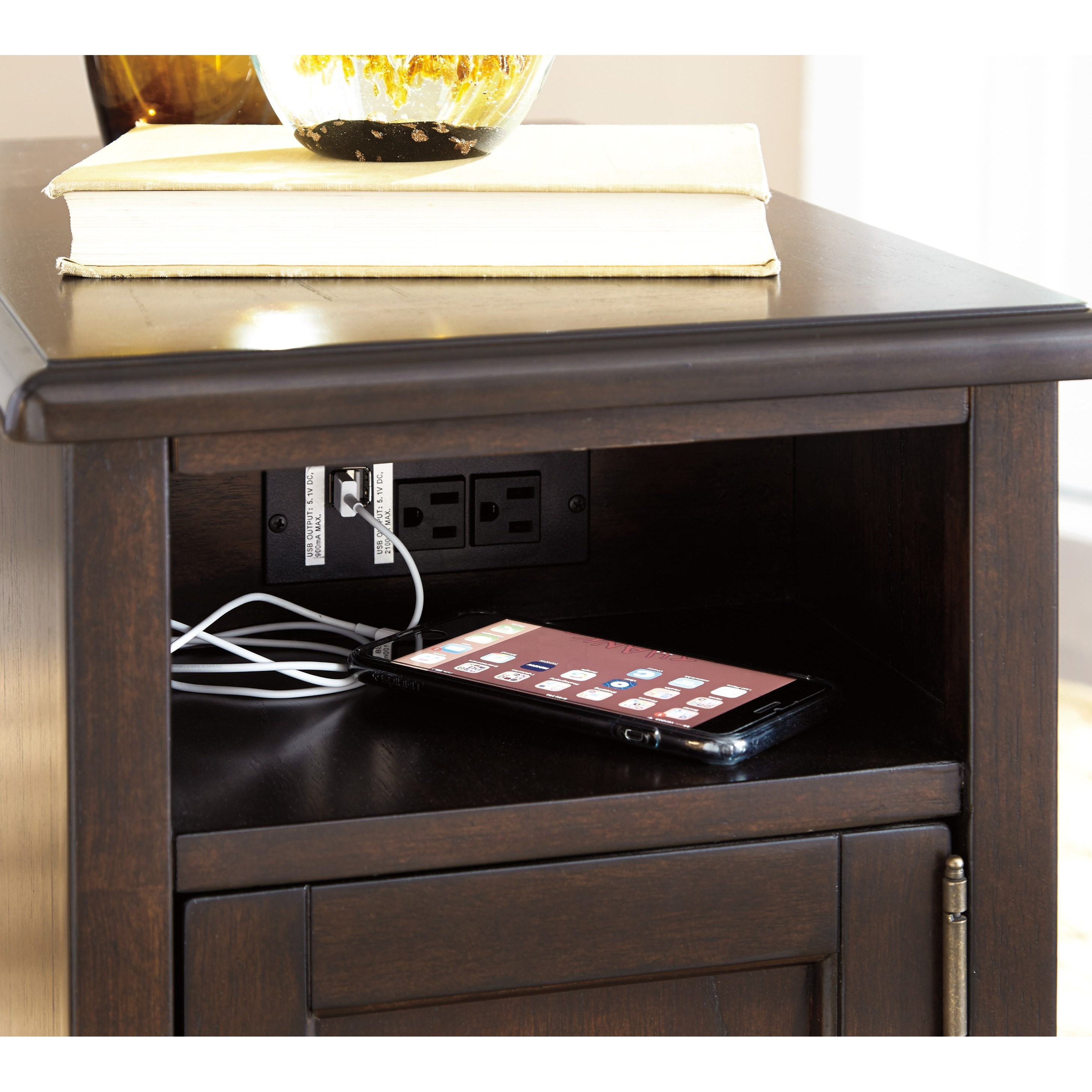 Signature Design By Ashley Barilanni Chair Side End Table With Power Outlets Usb Charging