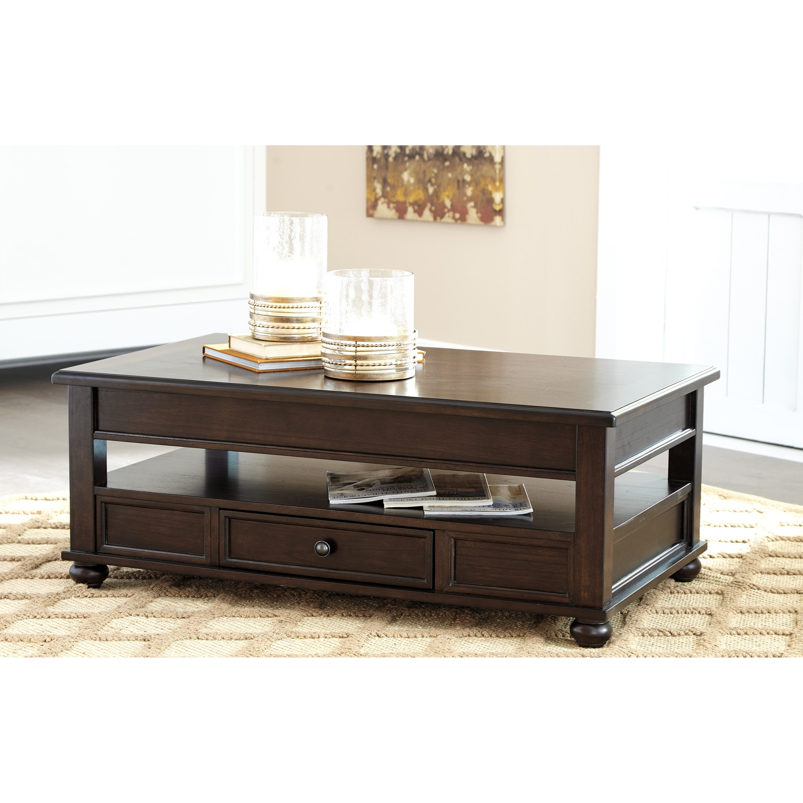 Ashley Cherry Wood Coffee Table: Ashley Signature Design Barilanni T934-9 Lift Top Cocktail