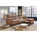 Signature Design by Ashley Baskove Leather Match 2-Piece Sectional with Chaise and Tufting