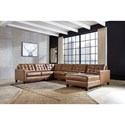 Signature Design by Ashley Baskove Leather Match 4-Piece Sectional with Chaise and Tufting