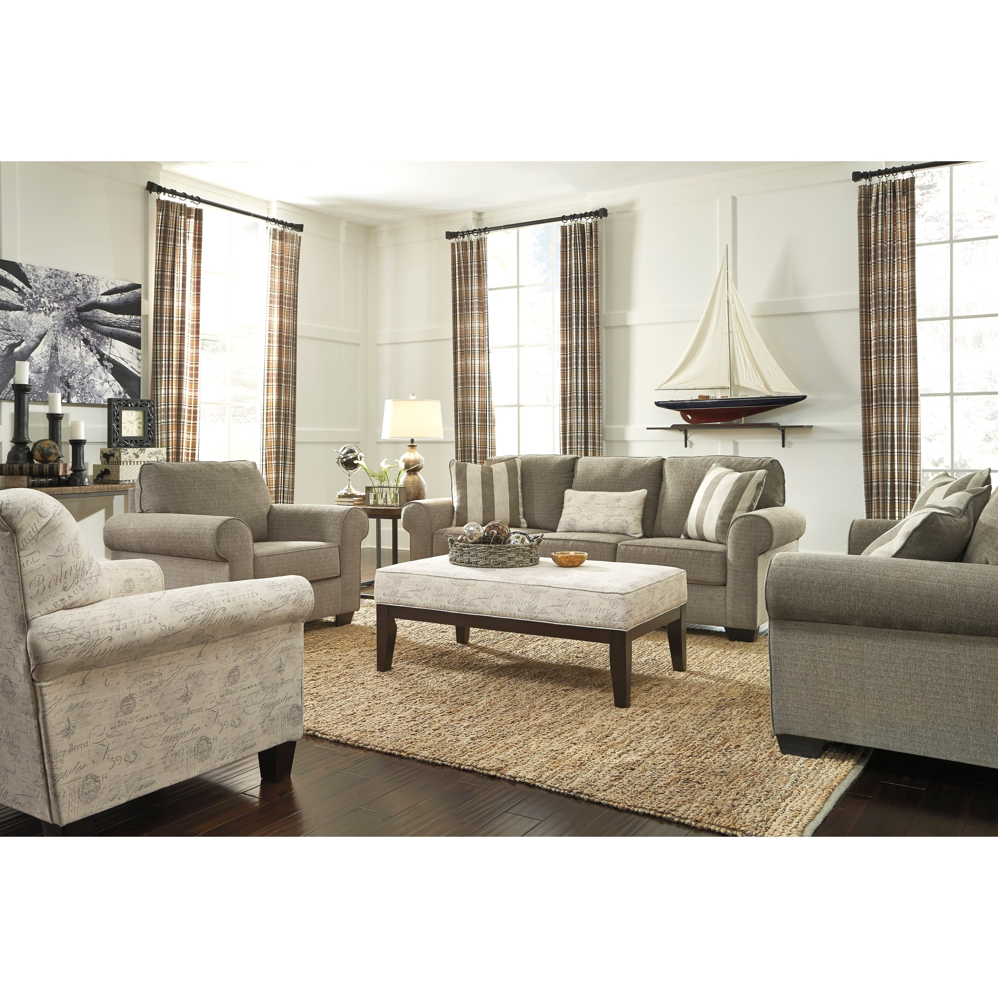 Signature Design by Ashley Baveria Stationary Living Room Group - Item Number: 47600 Living Room Group 4