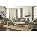 Signature Design by Ashley Baveria Chair with Large Rolled Arms & Ottoman