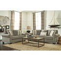 Signature Design by Ashley Baveria Queen Sofa Sleeper with Large Rolled Arms & Memory Foam Mattress