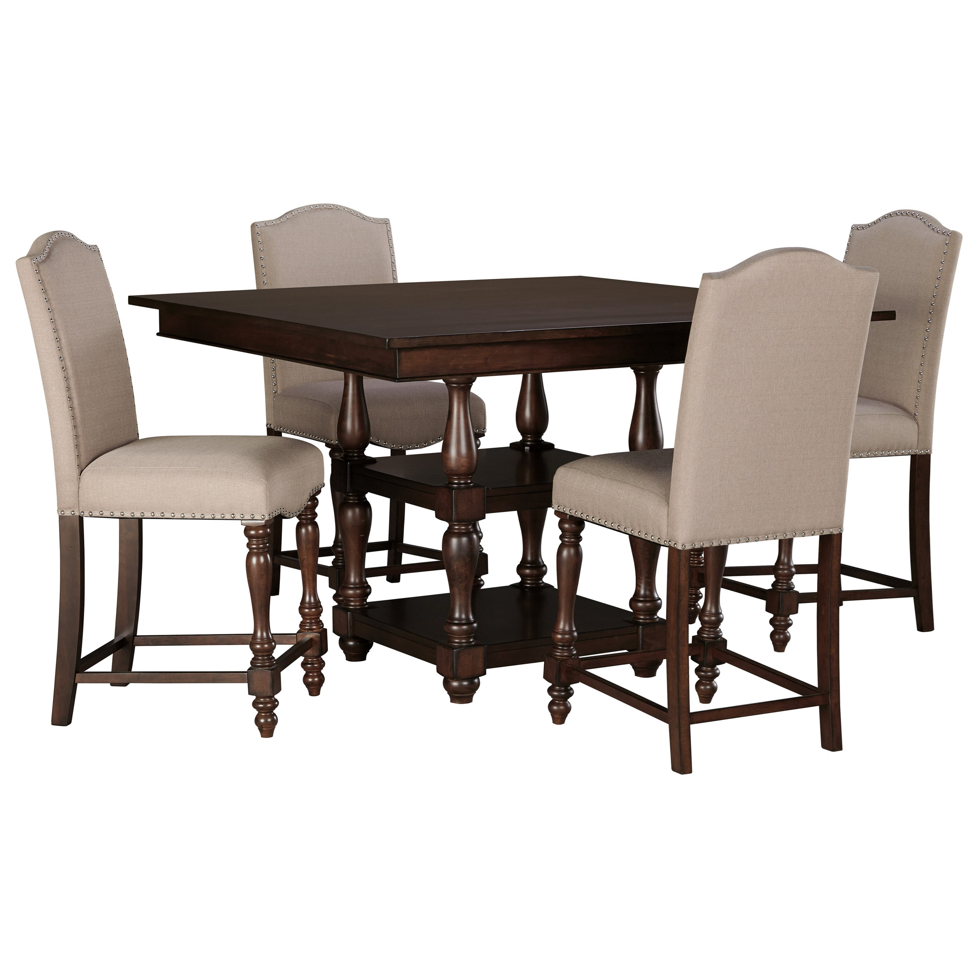 Signature Design by Ashley Baxenburg 5-Piece Square Dining Room Counter Table Set - Item Number: D506-32+4x124
