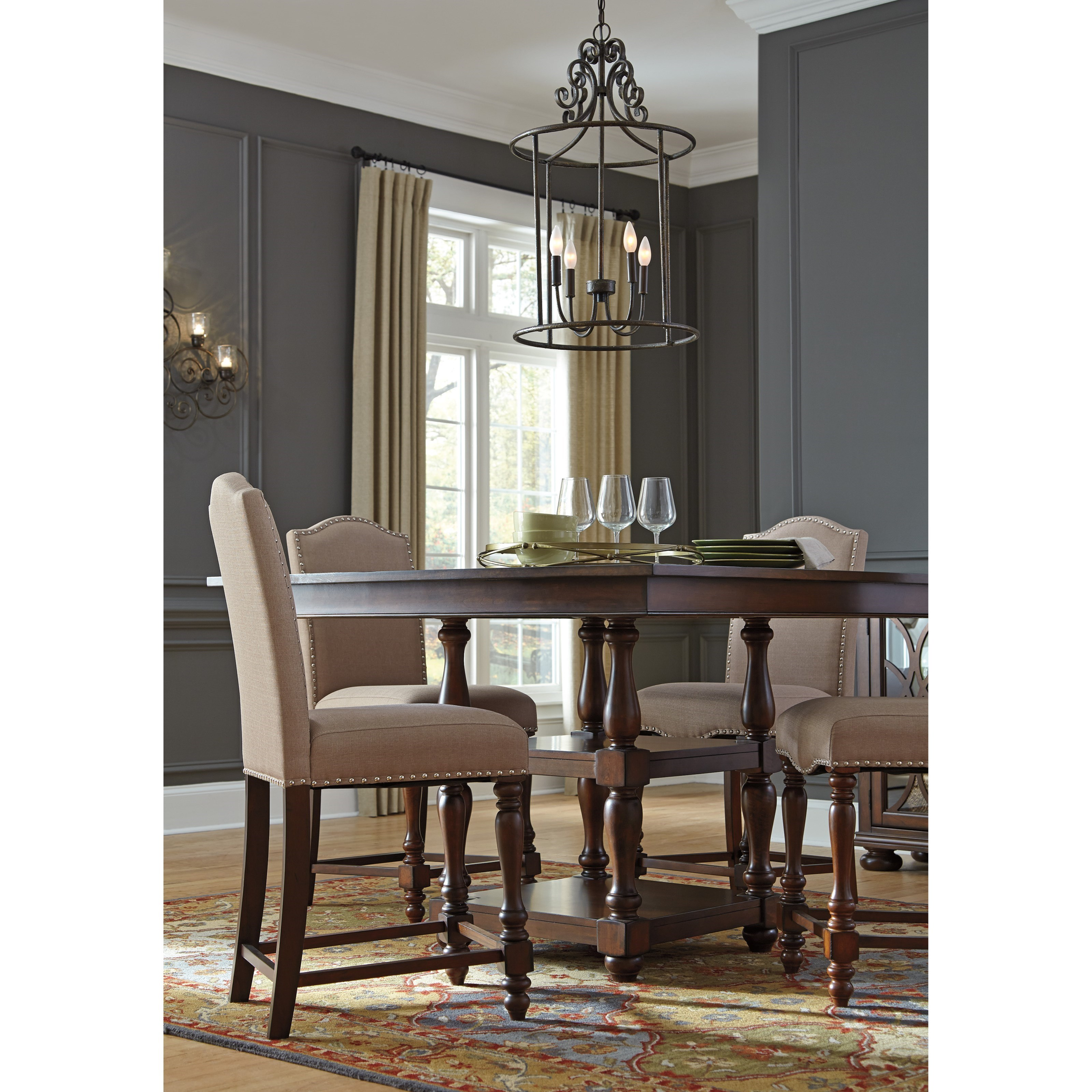 Signature Design By Ashley Baxenburg 5 Piece Square Dining Room Counter Table Set Miskelly