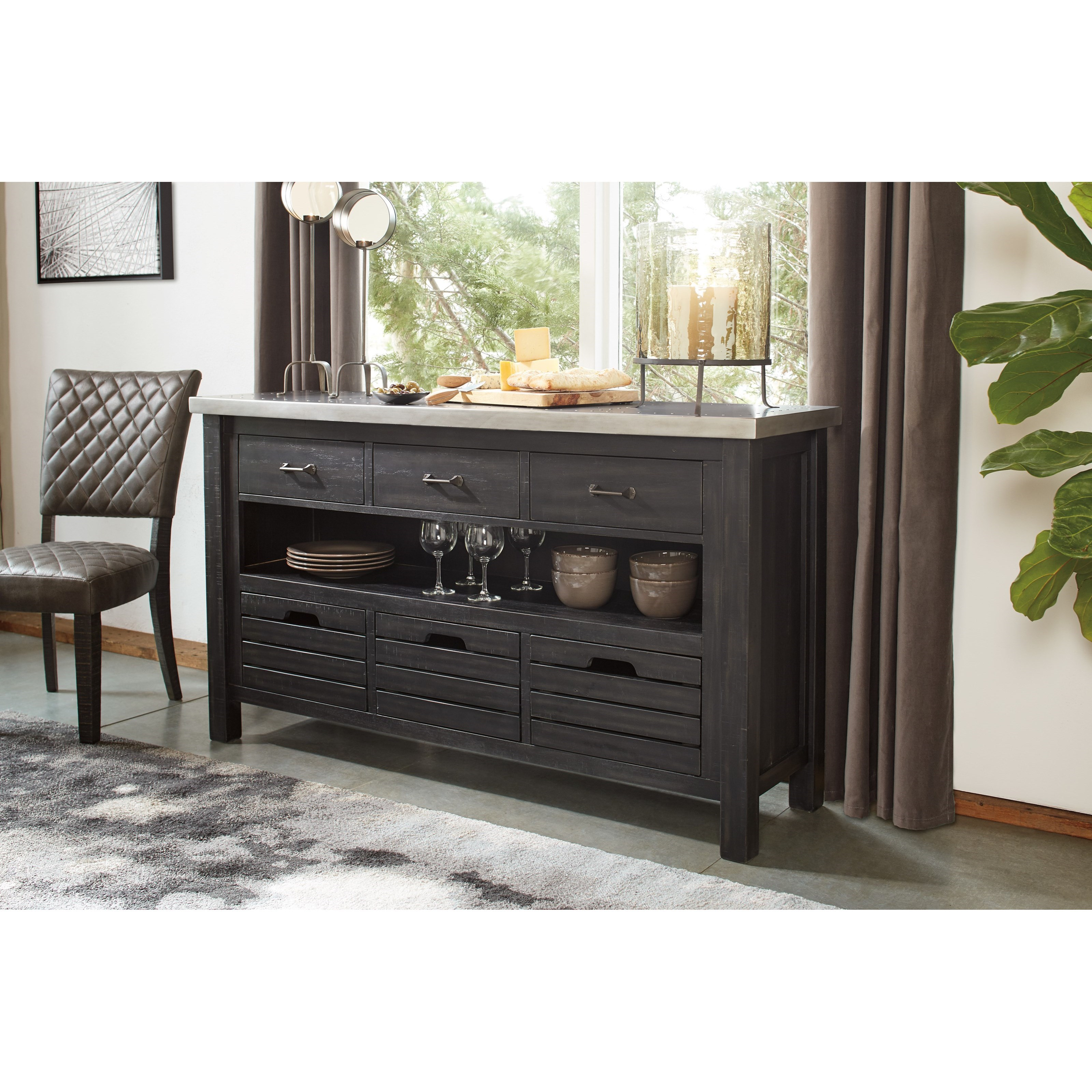 Signature Design By Ashley Baylow Server With Painted Top